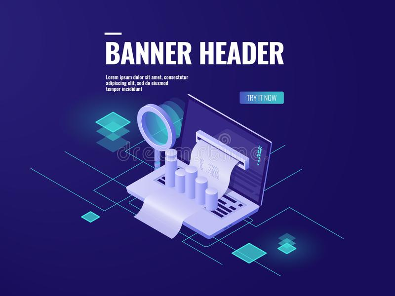 Big data processing and analysis isometric icon, smart business technology, laptop with magnifying glass and chart stock illustration