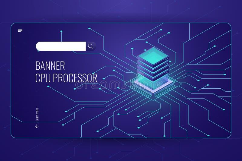 Big data processing, CPU processor isometric banner, network data transfer and calculation, dark neon violet vector illustration