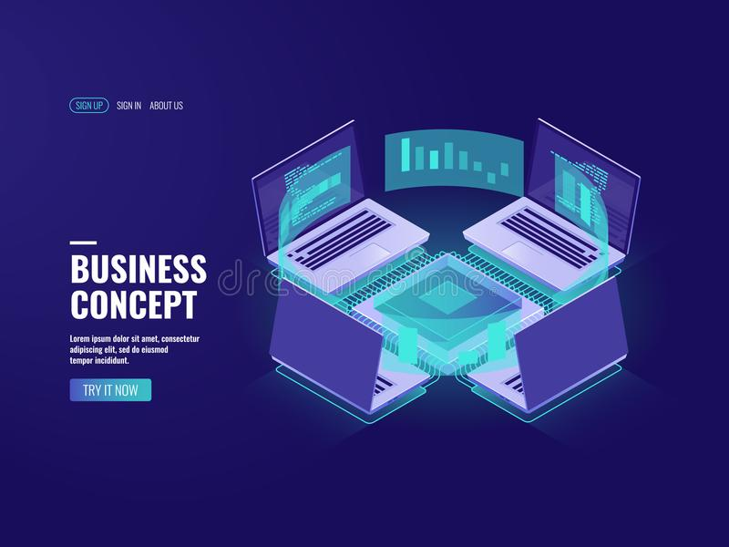 Big data processing, data visualization icon, datacenter and server room, internet network connection, information. Technology in business, report isometric vector illustration
