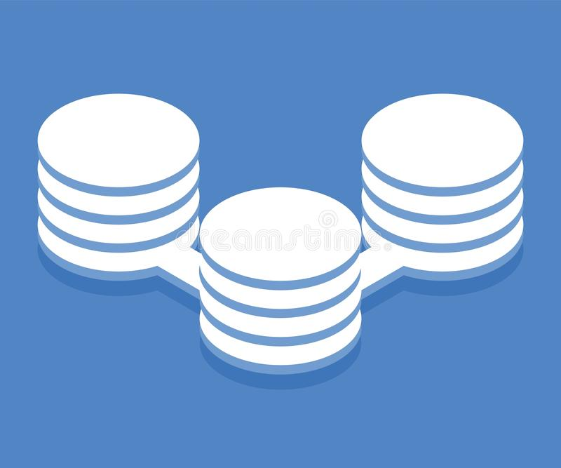 Big data processing icon. Vector illustration in flat isometric 3D style stock illustration