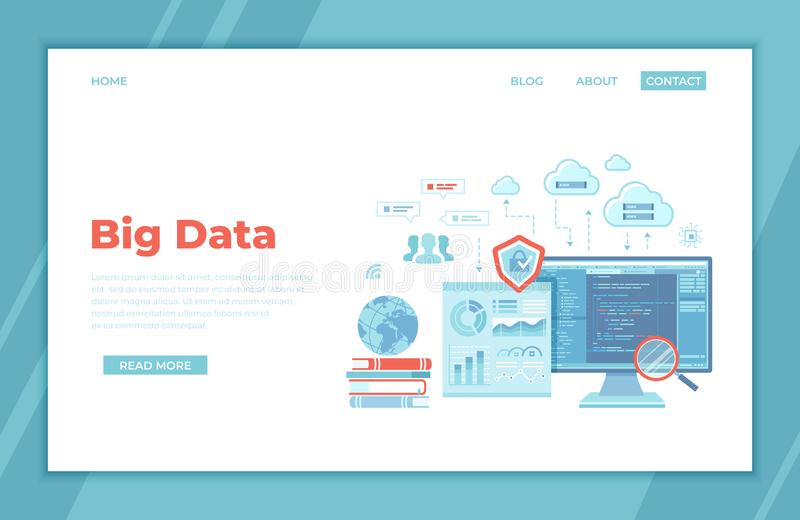Big Data Processing. Infographic Analysis Analytics, Database research, Financial reporting, Cloud storage, Communication technolo vector illustration