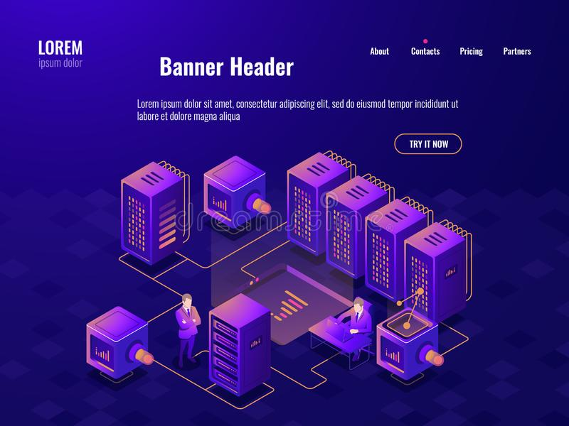 Big data processing isometric icon, server room, people working in the data center, cloud data storage, analytic center. Dark neon vector vector illustration