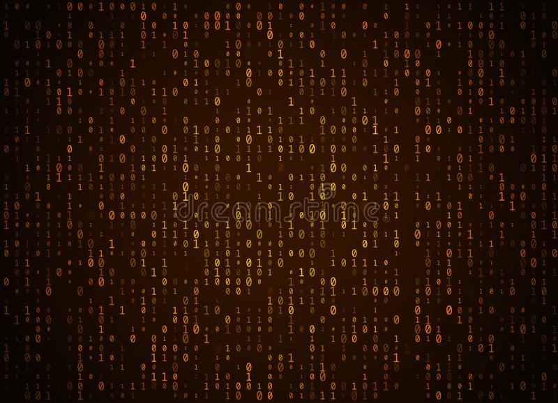 Vector binary code golden background. Big data and programming hacking, deep decryption and encryption, computer streaming numbers royalty free illustration