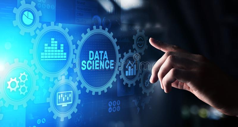 Big Data science analysis business technology concept on virtual screen. royalty free illustration