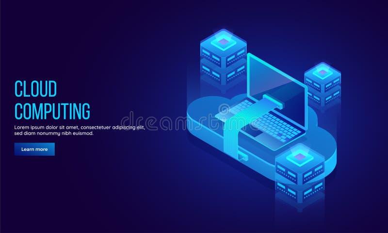 Big data sharing concept landing page design for Cloud Computing vector illustration