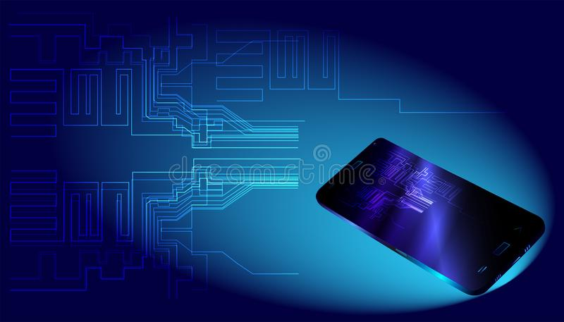 Big data and smartphone on blue background. vector illustration