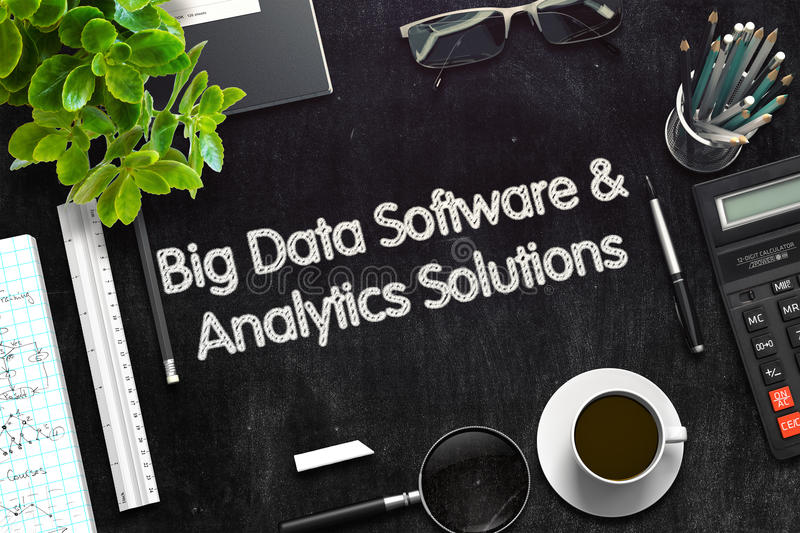 Big Data Software and Analytics Solutions Concept. 3D render. Black Chalkboard with Big Data Software and Analytics Solutions Concept. 3d Rendering. Toned royalty free stock photos