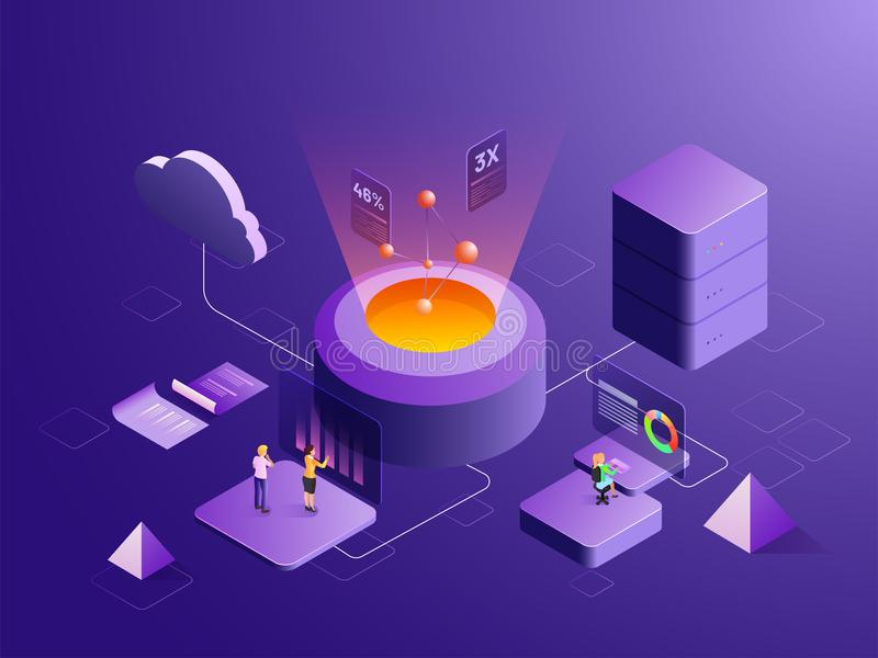 Big data storage or data analysis concept based isometric design vector illustration