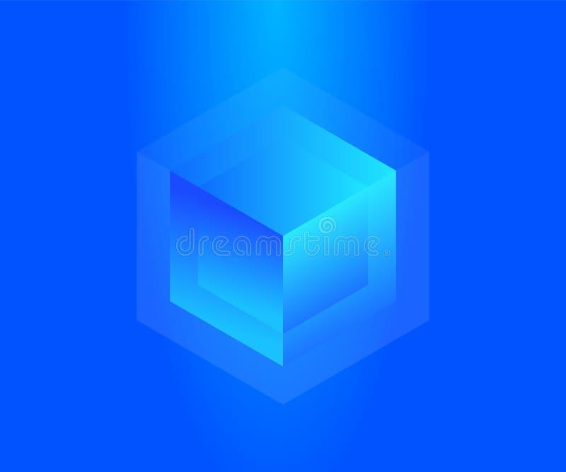 Big data storage neon block concept. Abstract technology background. Blockchain isometric vector illustration royalty free illustration