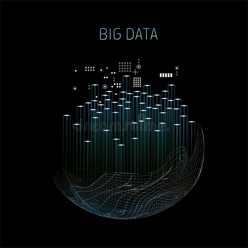 Big data tech abstract vector background royalty free illustration