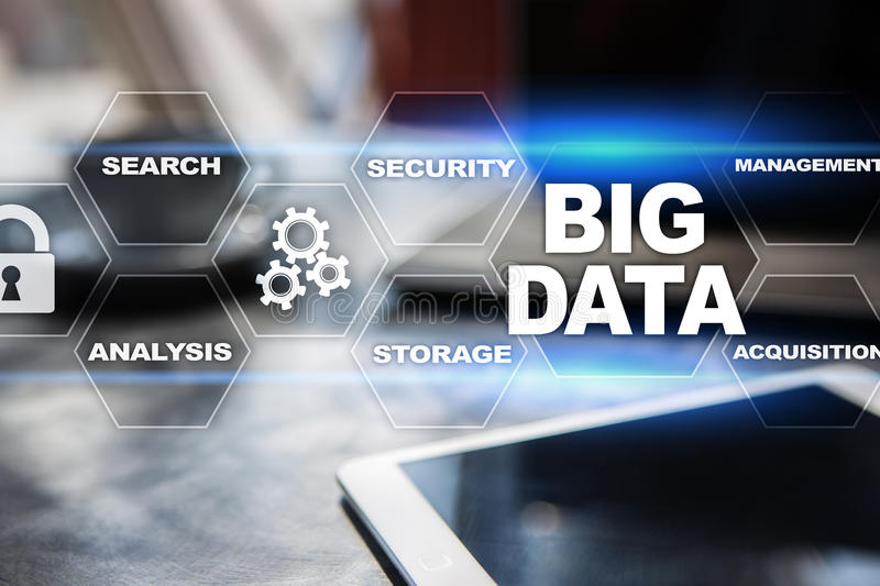 Big data technology and internet concept on the virtual screen. Big data technology and internet concept on the virtual screen royalty free illustration
