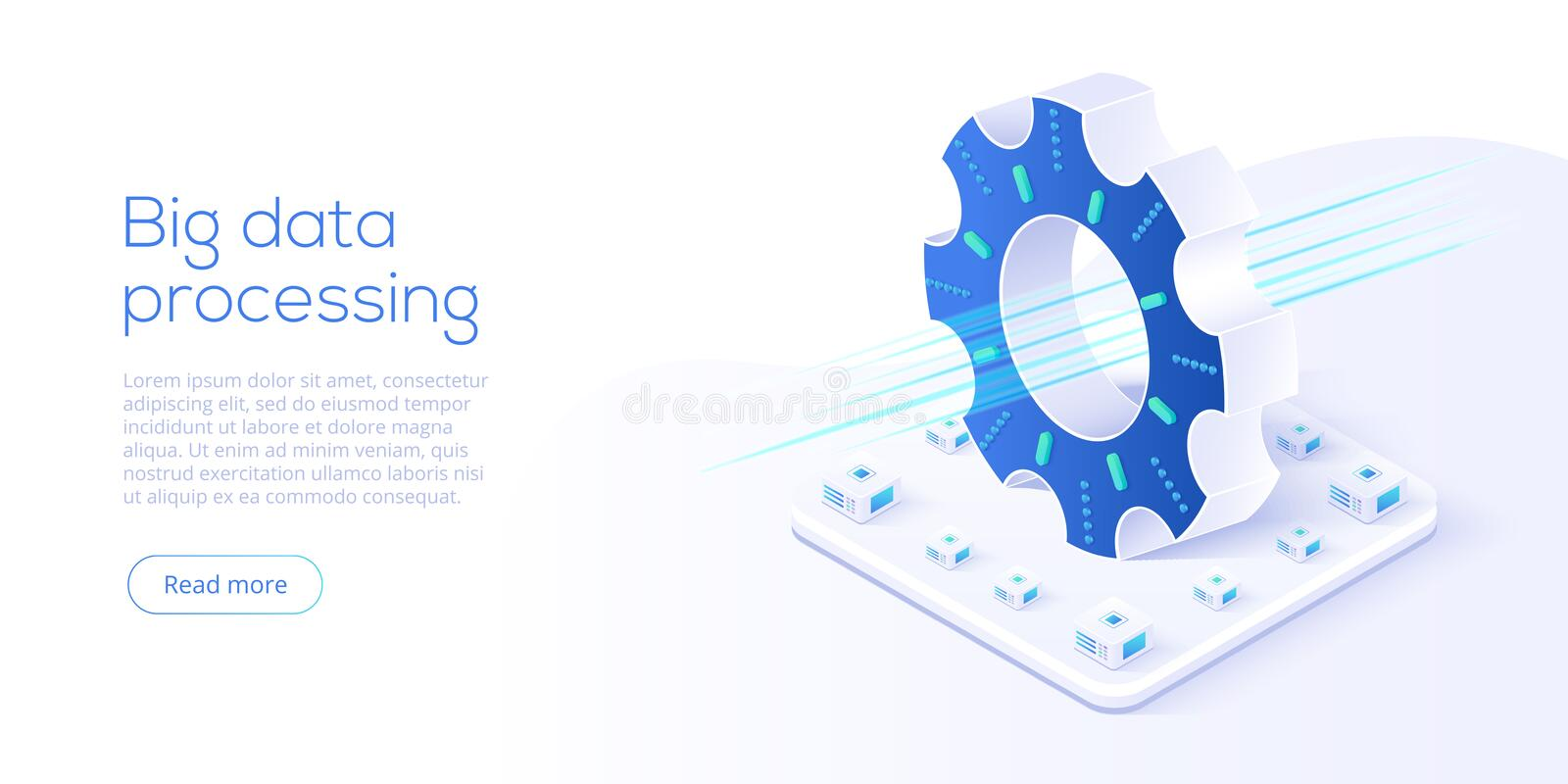 Big data technology in isometric vector illustration. Information storage and analysis system. Digital technology website landing royalty free illustration