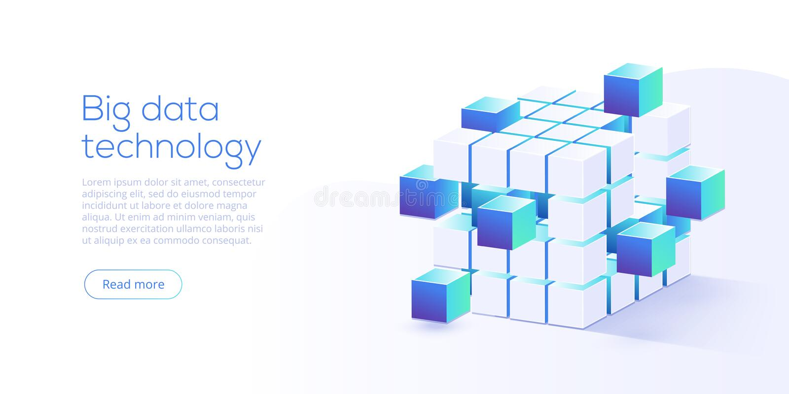 Big data technology in isometric vector illustration. Information storage and analysis system. Digital technology website landing vector illustration