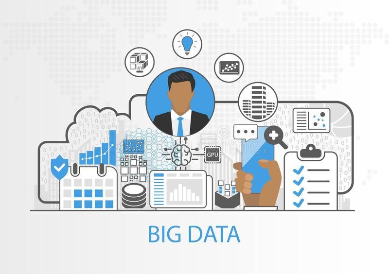 Big data vector background with business man and icons. As concept royalty free illustration