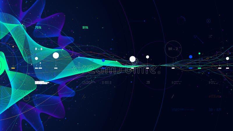 Big data visualization array digital presentation on the business analytics concept, glow fractal royalty free illustration