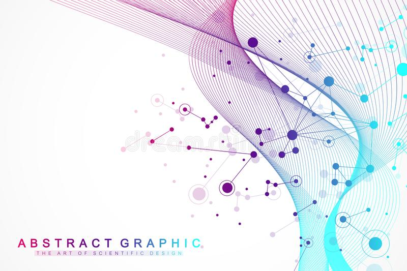 Big data visualization. Artificial Intelligence and Machine Learning Concept. Graphic abstract background communication royalty free illustration