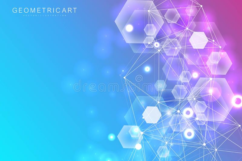 Big Data Visualization Background. Modern futuristic virtual abstract background. Science network pattern, connecting. Lines and dots. Global network connection royalty free illustration