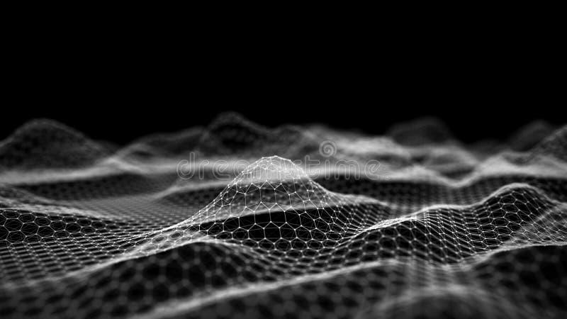 Big data visualization 3D. Technology wave. Analytics representation. Digital background. 3d rendering vector illustration