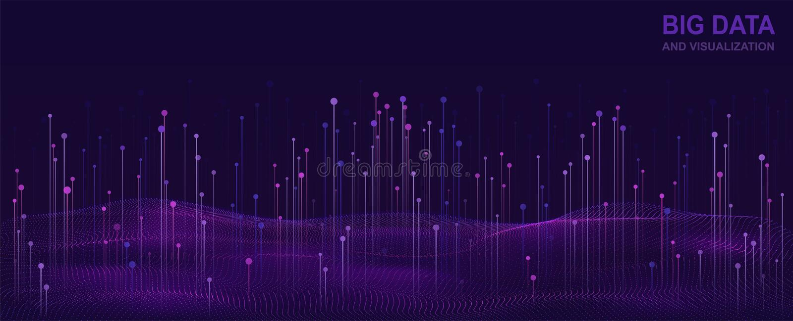 Big data visualization. Futuristic design of data flow. Abstract digital background with flowing particles. royalty free illustration