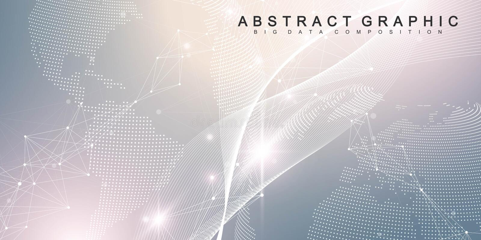 Big data visualization. Geometric abstract background visual information complexity. Futuristic infographics design royalty free illustration