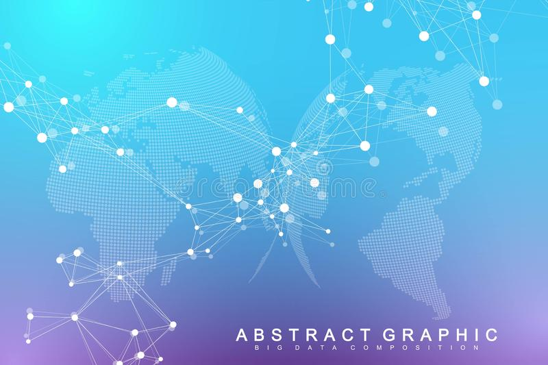 Big data visualization. Geometric abstract background visual information complexity. Futuristic infographics design vector illustration