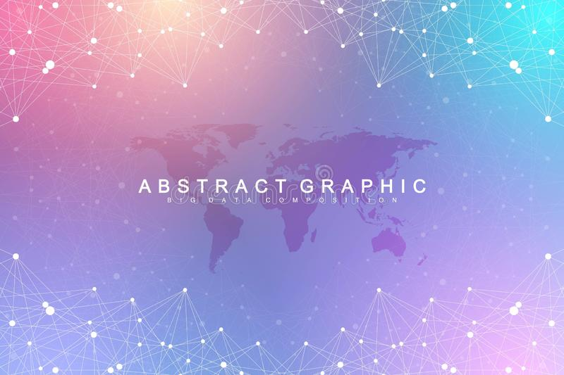 Big data visualization. Geometric graphic background molecule and communication. Global network connection. Connected royalty free illustration