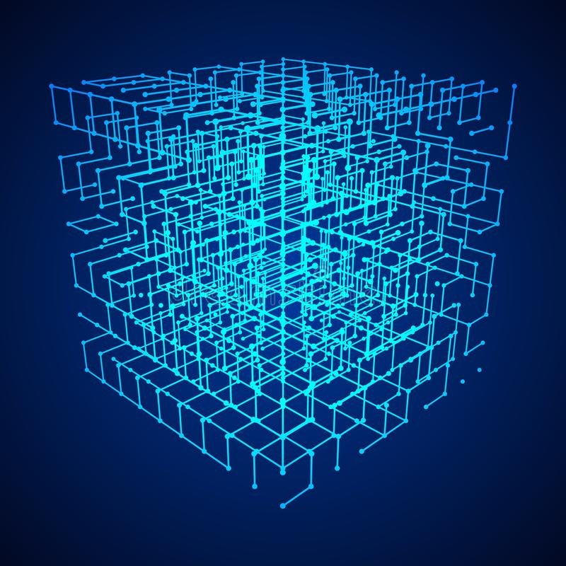 Wireframe Mesh Cube. Big data visualization. HUD grid corners wireframe mesh cube. Analysis of information. Visual data infographics design. Science and stock illustration