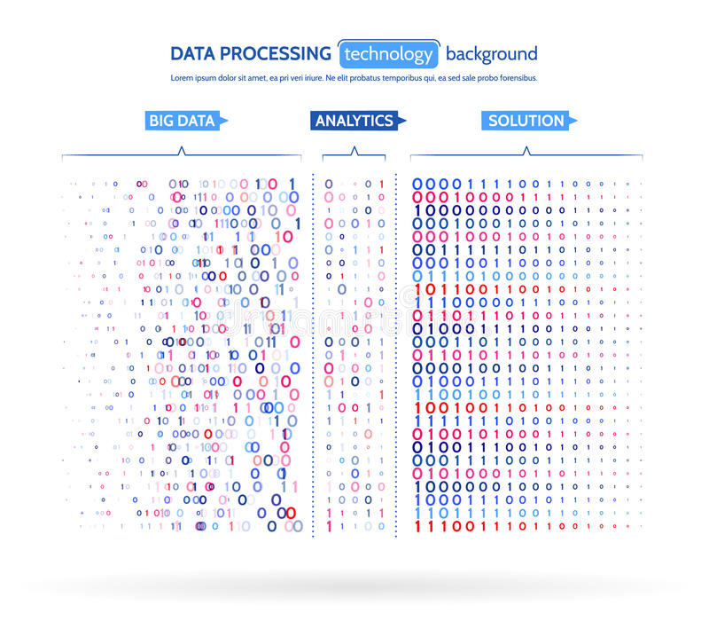 Big data visualization. Information analytics concept. Abstract stream information. Filtering machine algorithms. Sorting binary code. Vector technology vector illustration