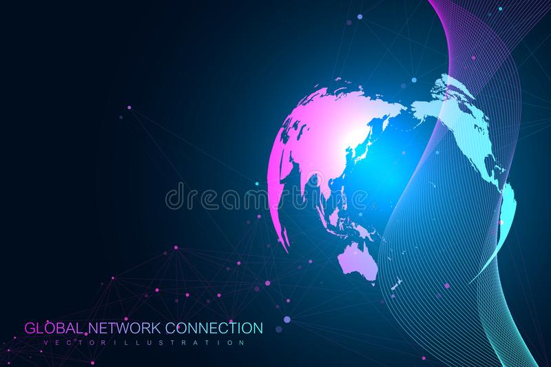 Big data visualization with a world globe. Abstract vector background with dynamic waves. Global network connection vector illustration