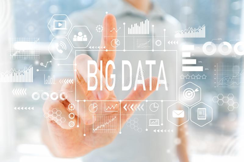 Big Data with young man royalty free stock photos