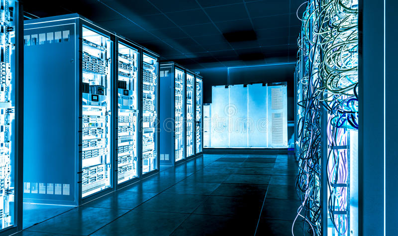 Big datacenter with connected servers and internet cables stock images