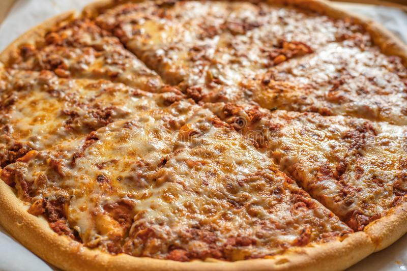 Big delicious traditional pizza, Italian food traditional cuisine stock photo