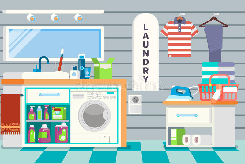 Big detailed Interior. Functional and comfortable bathroom. Laundry basket, clean cloth, washing machine, and detergents stock illustration