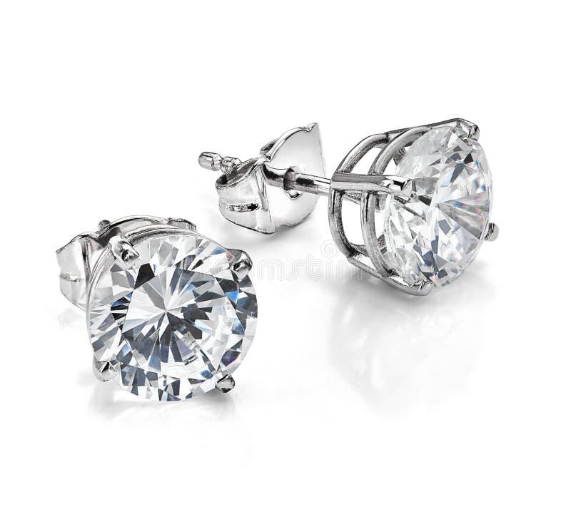 Free Big Diamond Earrings On White Background Stock Photos - 173303693