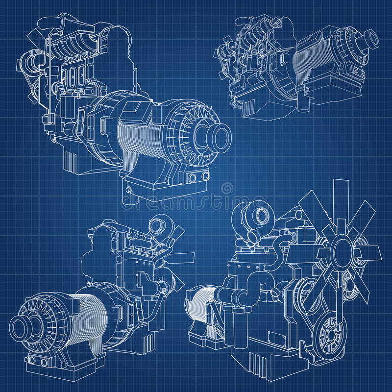 A big diesel engine with the truck depicted in the contour lines on graph paper. The contours of the black line on the blue backgr stock illustration