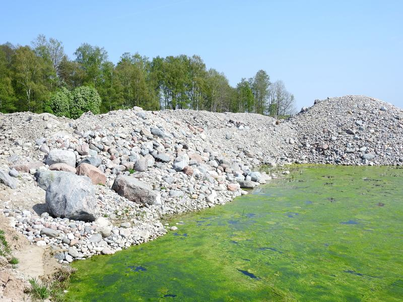 Big and small quarry stones, Lithuania stock photography