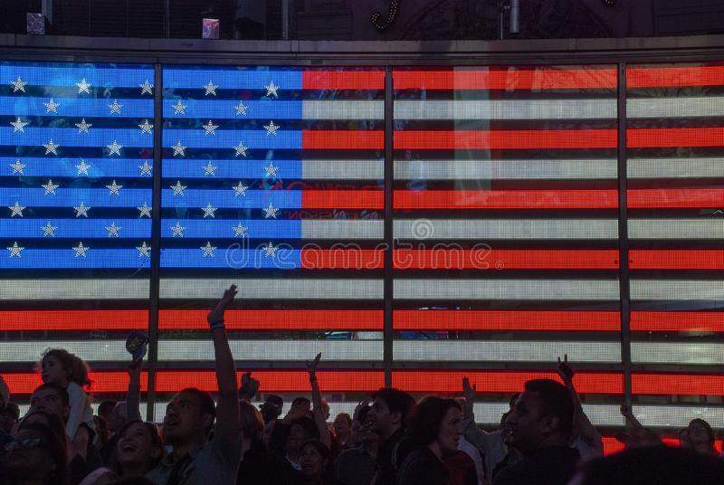 Big digital aermican flag on huge display on Times Square, New York City stock photography