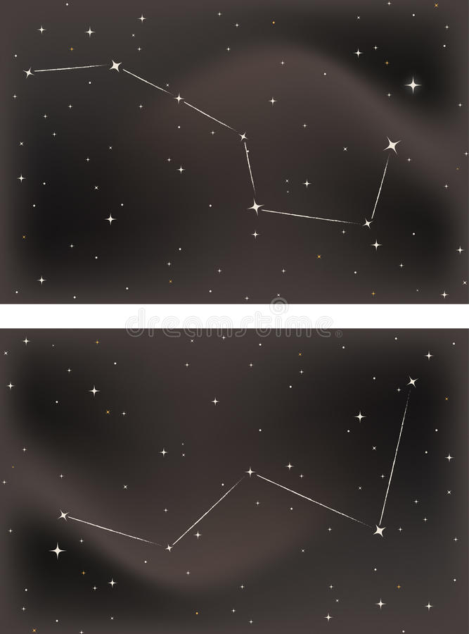The Big Dipper and Cassiopeia stock images