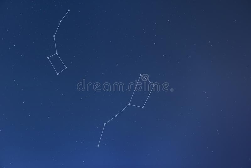 Big Dipper, Little Dipper & North Pole - constellations. Finland, Inari - Jan 219: Big Dipper, Little Dipper & North Pole visible in starry night sky royalty free stock photography