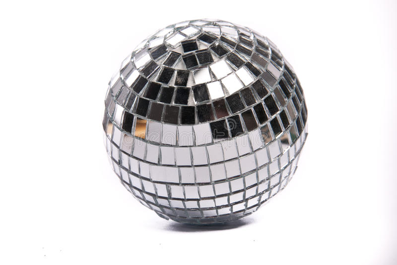 Big disco ball. Symbol of seventies isolated stock photography