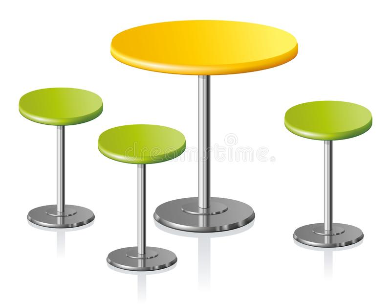 Round table. Vector illustration. Big disk shape pale grey stylish 3d padded board and pews stand on one shiny foot on light background. Club rest trendy retro royalty free illustration