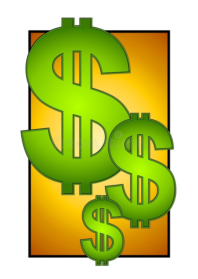 Big Dollar Signs on Gold Cash. A cash and money illustration with 3 dollar signs in green gradient on a gold background stock illustration