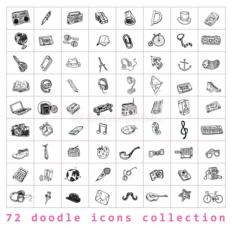 Big doodle set, collection icon, . Big doodle set, collection icon stock illustration