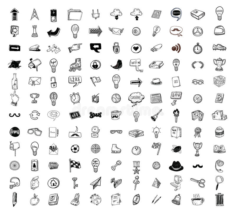 Big doodle set, collection icon, vector. Big doodle set, collection icon, vector vector illustration