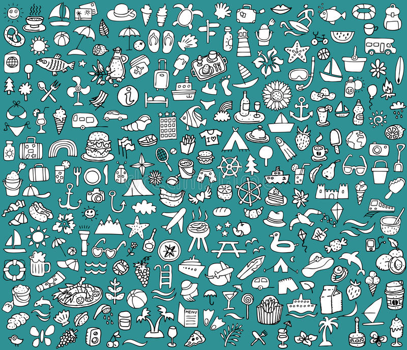Big doodled summer and holidays icons collection royalty free illustration