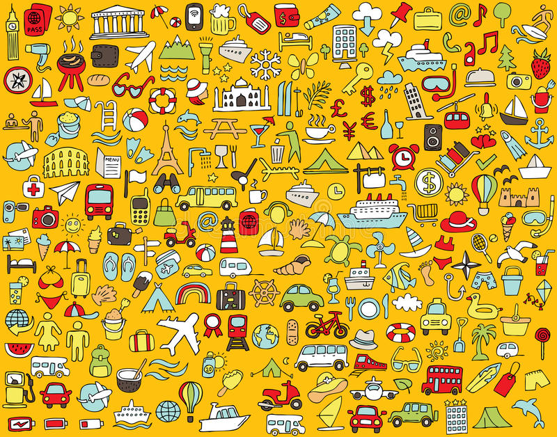 Big doodled travel and tourism icons collection stock illustration