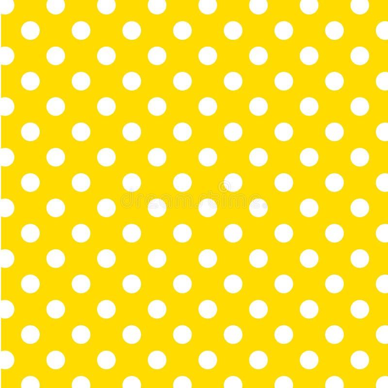 big dots polka seamless white yellow иллюстрация штока