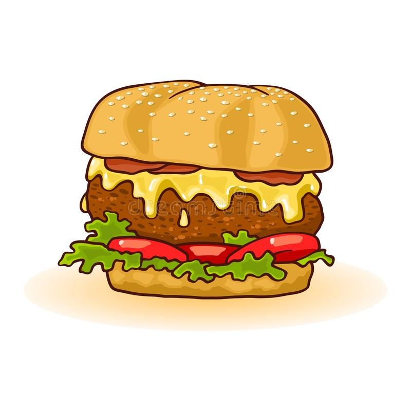 Big double burger with beef patties, melted cheese, tomatoes, cucumber, lettuce on toasted bun. vector illustration