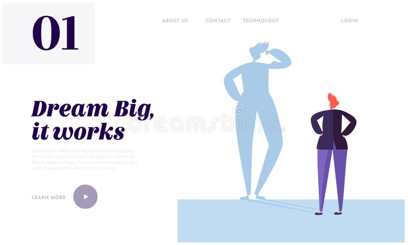 Big Dream Landing Page. Character has Life Goal that Want Doing. Carefully Plan and Stay Focused. Necessary Motivation. And Self-discipline Website or Web Page stock illustration