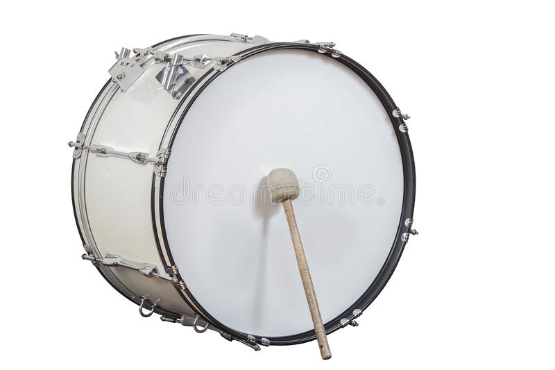 Big drum. Classic musical instrument big drum isolated on white background royalty free stock photography